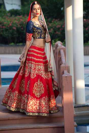 Dark Blue and Red Bridal Lehenga