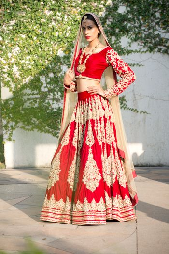 Deep Red Bridal Lehenga with Zari