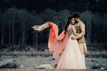 filmy pre wedding shot with flying dupatta