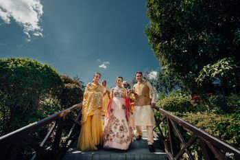 Mehendi bridal entry portrait with family