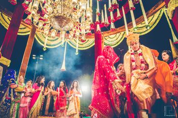 Outdoor Mandap with Floral Chandelier