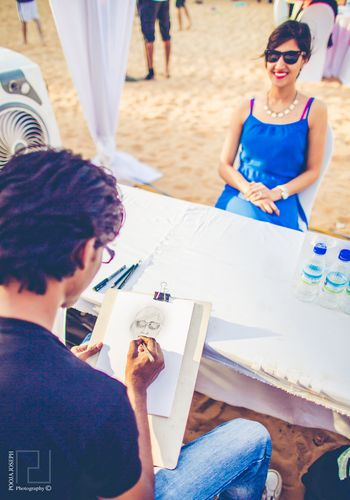Live Sketching Booth at Beach Wedding
