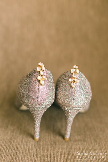 Photo of Polki and Meenakari Earrings on Silver Shoes