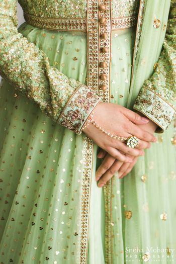 Photo of Mint Lehenga with Zardosi and Sequins and Haathphool