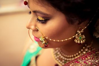 Photo of Gold Nose Ring with Peark Drops and Meenakari