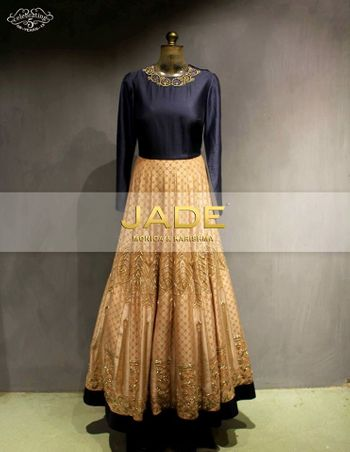 navy blue and cream floor length anarkali