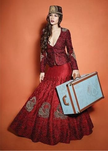 red modern bridal lehenga