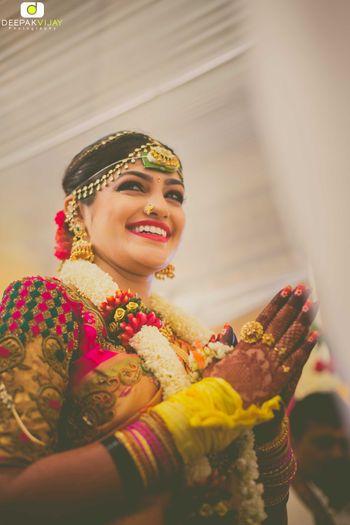 Telugu bride with matha patti
