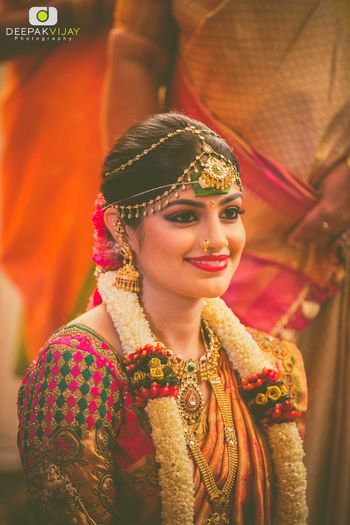 South Indian Bridal Portrait with Mathapatti and Jhumki