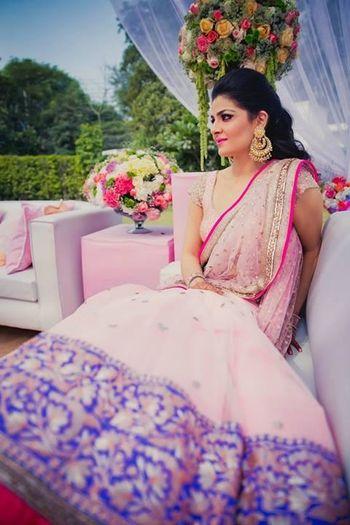 Photo of Light pink and purple engagement lehenga by Manish Malh