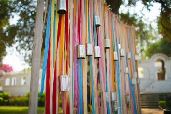 Ribbons as wedding photobooth backdrop