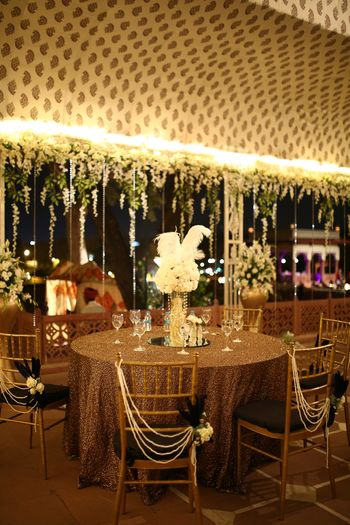 Gold sequinned table cloth