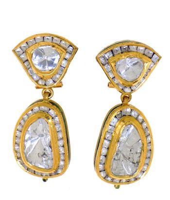 Photo of polki two stone drop earrings
