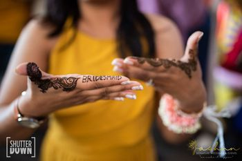 bridesmaid mehendi design with the word written