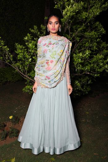 Photo of Floral print drape over anarkali by Ridhi Mehra