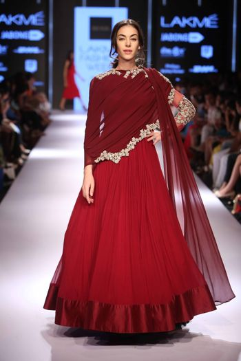 Red Net Gown with Marsala Cape and Gold Border