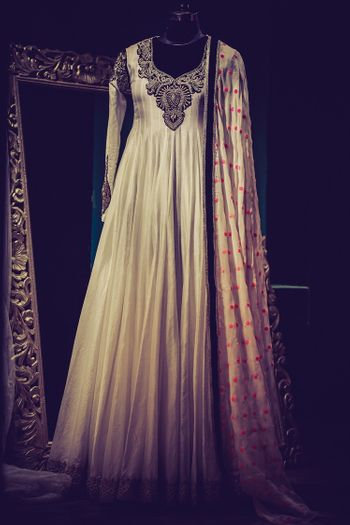 cream anarkali with embroidered yolk