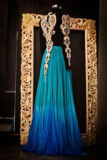 floor length gown in blue ombre