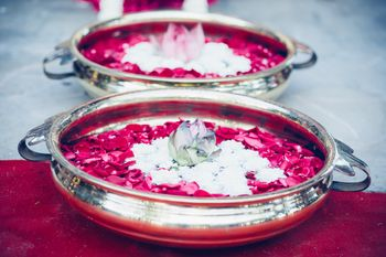 Photo of Silver Water Bowls with Rose Petals