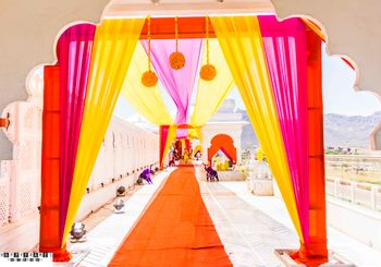 Hot Pink and Yellow Curtain Drapes Entrance Decor