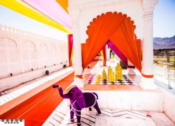 Photo of Purple Props Elephant with Orange Drapes