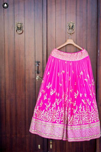 Fuchsia Pink Lehenga with Petals Embroidery on a Hanger