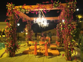 Outdoor Night Floral Tent with Chandeliers