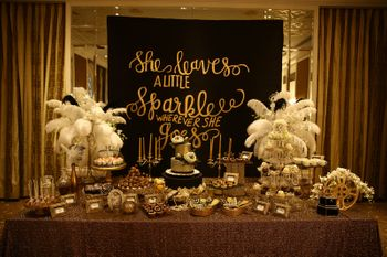Gold Themed Table Decor with Blackboard Decor