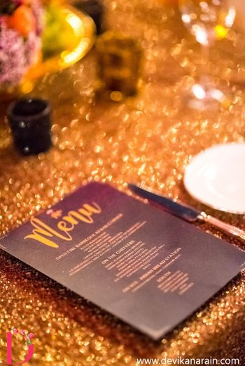 Photo of Glitter Themed Decor with Customised Menu Cards