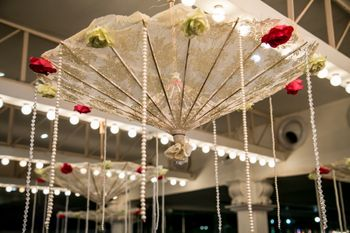 White Hanging Upside Down Umbrellas with Floral Decor