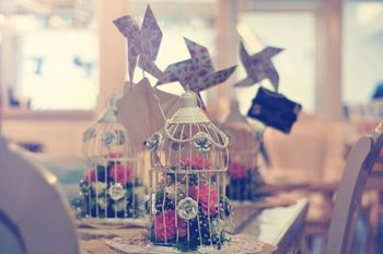 Bird Cage Decor with Flowers and WIndmills