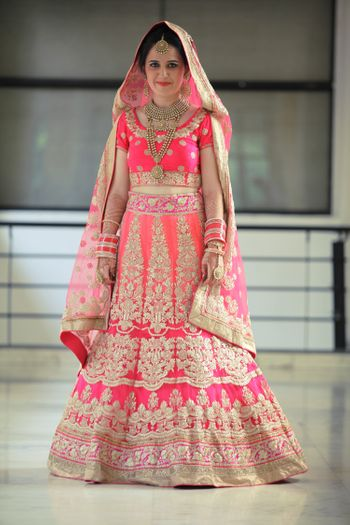 Fuchsia Pink and Peach Shaded Lehenga with Zari Work