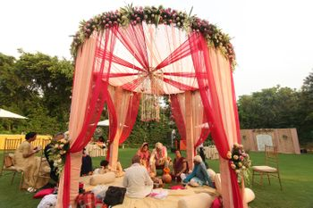 Red and Cream Mandap with Floral Chandelier