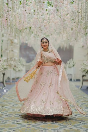light pink and gold simple bridal lehenga