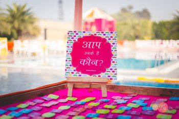 fun message board for badges for family on mehendi