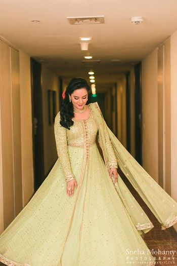 Mint green and gold anarkali