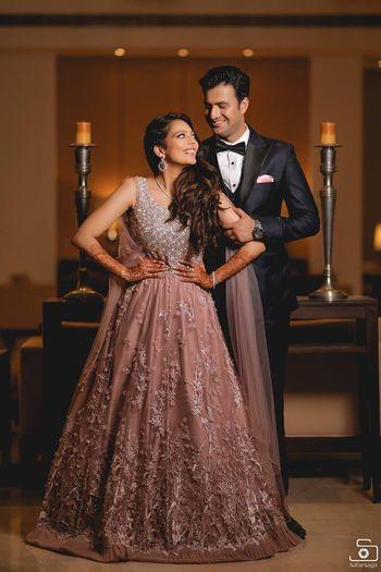 light pink elegant lehenga gown for cocktail or engagement