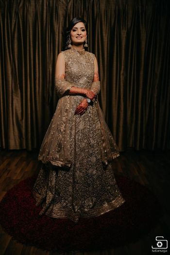 engagement outfit grey anarkali for bride to be