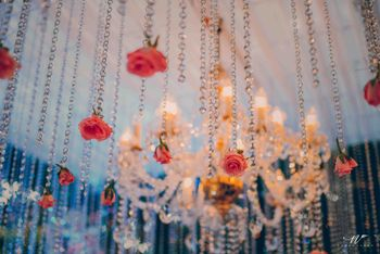 Hanging Flower Strings with Chandelier