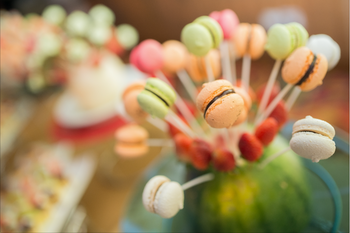 Mini Macaroons on a stick for a wedding