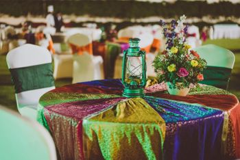 Colorful Table Runner with Green Lantern Decor