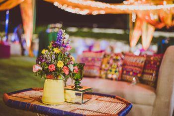 Yellow Flower Pot Table Centerpiece on Jute Table Decor