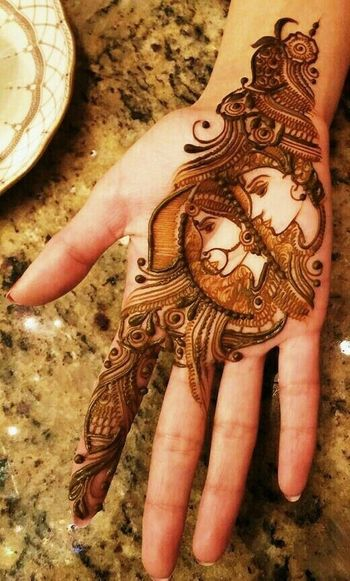 Bride and Groom portrait minimalistic mehndi design.