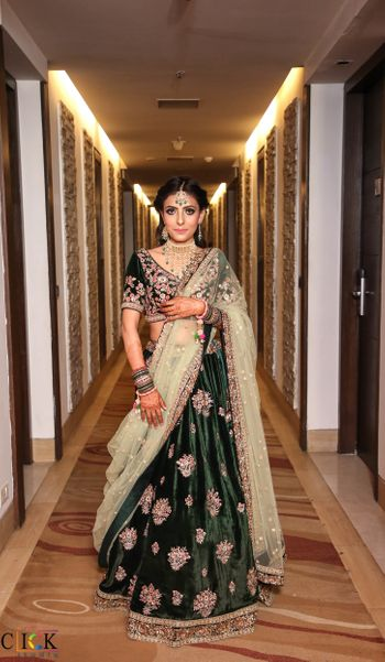 dark green velvet lehenga for mehendi