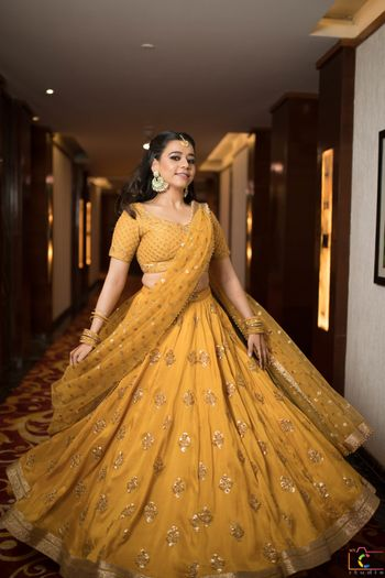 mustard yellow engagement lehenga