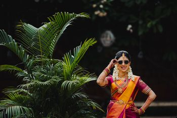 cool south indian bridal shot wearing sunglasses