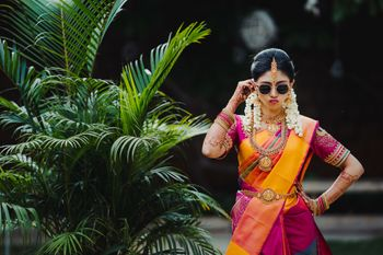 cool bride shot wearing sunglasses