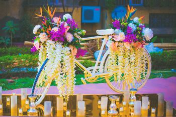 Gold Bicycle with Floral Decor