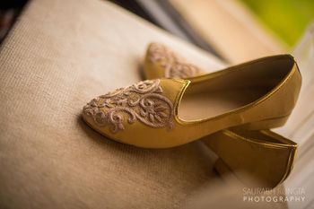 Gold Juttis with Zari Work