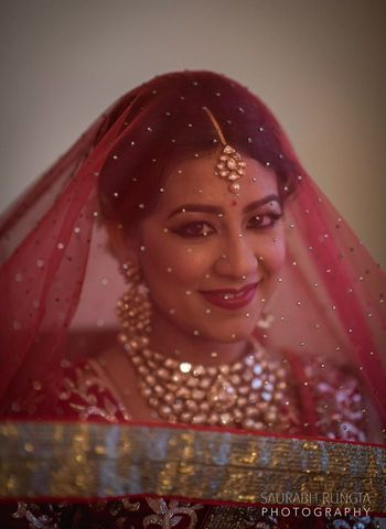 Bride with Veil - Red Net Dupatta
